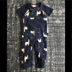 Cat & Jack llama overalls & onesie 18 M